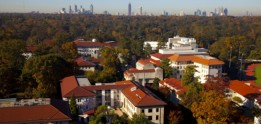 Part of the Emory campus and the Atlanta skyline, as seen from the roof of the Emory University Hospital G Wing.