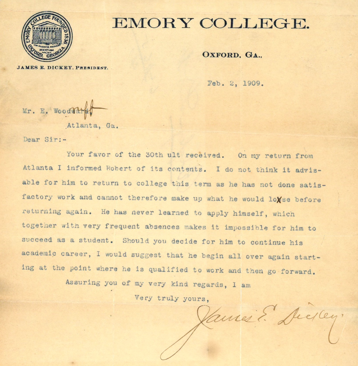 Two Woodruff Letters Seven Decades Apart  Emory HistorianS Blog