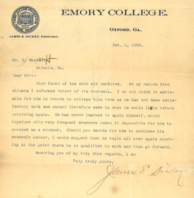 Dickey letter to Ernest Woodruff