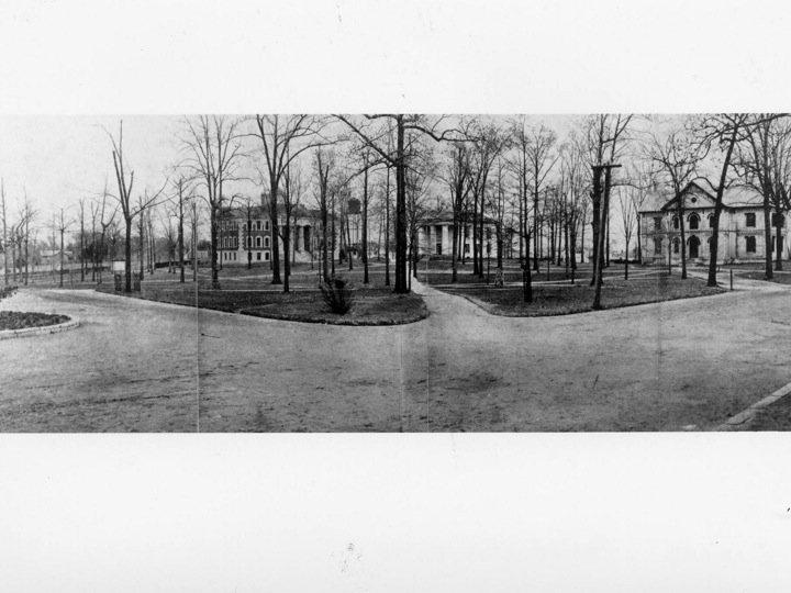 The view from in front of Seney Hall looks north toward Pierce (1903) and Few (1851).