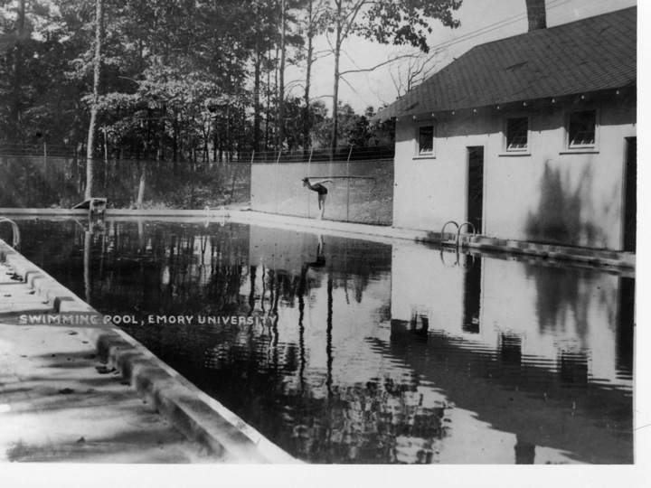 Built in 1927, the pool was later filled in to create a floor for Campus Services Building D.