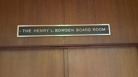 Bowden Board Room plaque